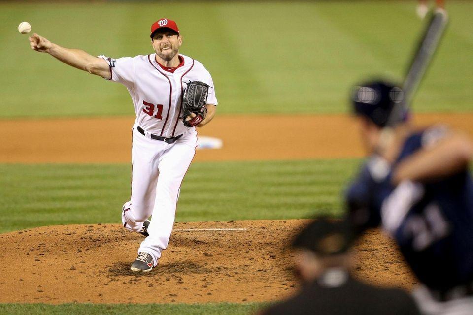 Washington Nationals starting pitcher Max Scherzer pitches during