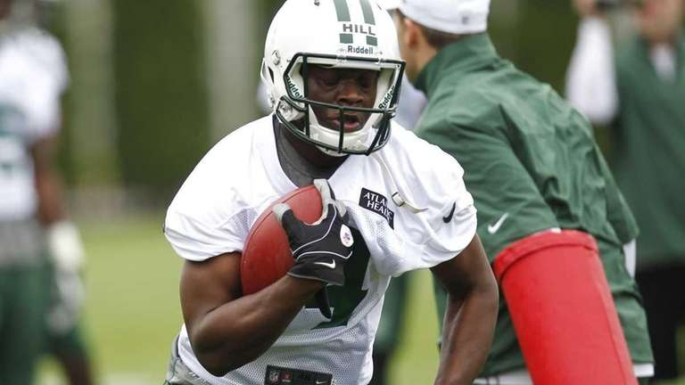 Terrance Ganaway works out during Jets rookie minicamp