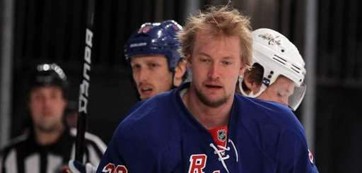 Anton Stralman of the New York Rangers looks