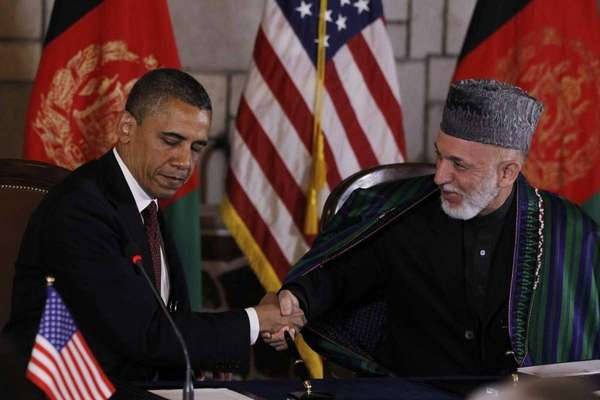 President Barack Obama and Afghan President Hamid Karzai