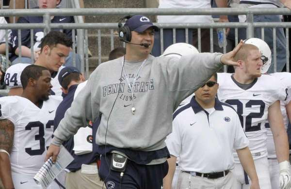 Penn State football coach Bill O'Brien gestures during