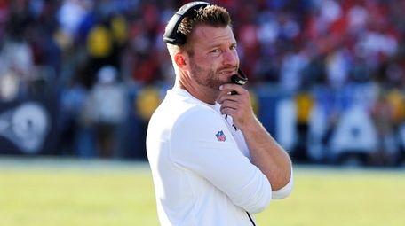 Rams head coach Sean McVay looks on during