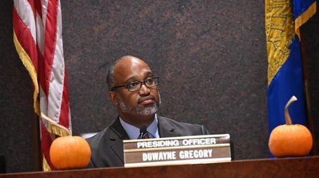 Suffolk Presiding Officer DuWayne Gregory presides during a