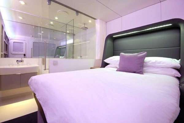 A premium cabin bed in Heathrow Airport's Yotel.