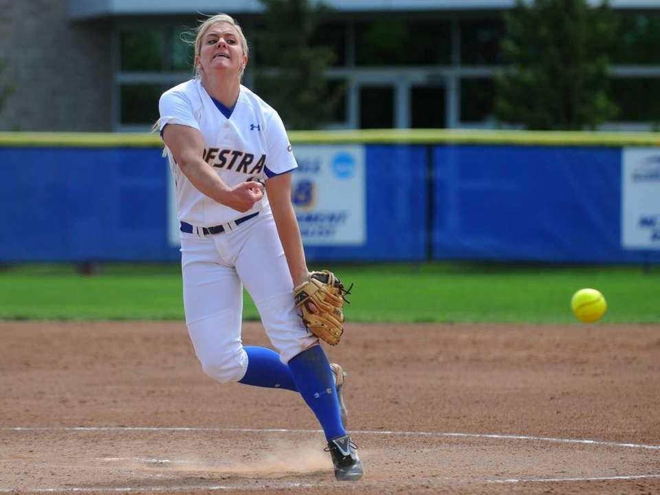 Hofstra University pitcher Olivia Galati delivers to the