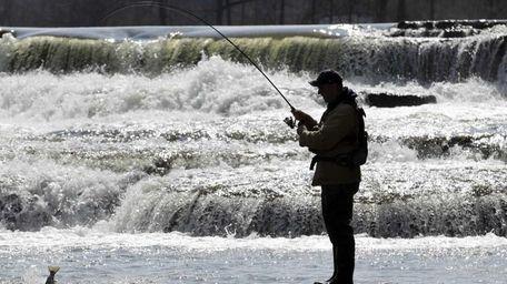 Chris Melohusky catches a steelhead trout in Buffalo