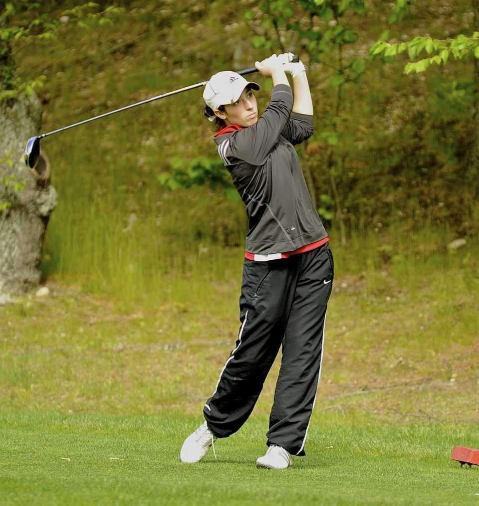 Smithtown East's Carly Peters tees off on the
