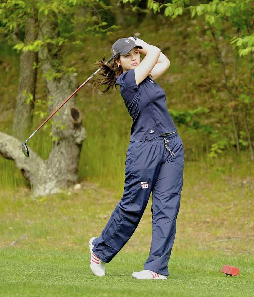 Smithtown West's Victoria Snak tees off on the