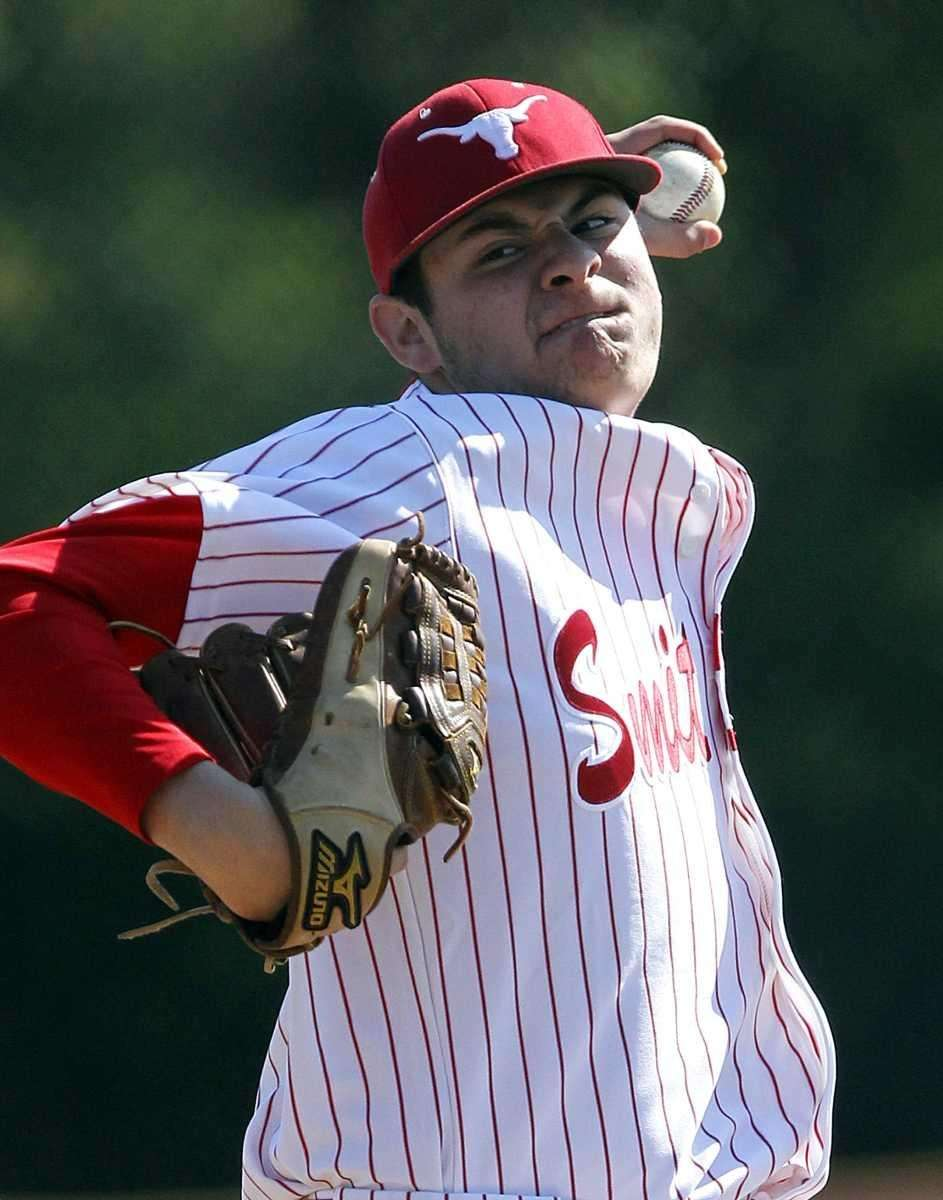 Smithtown East starting pitcher Justin Cusano (44). (May