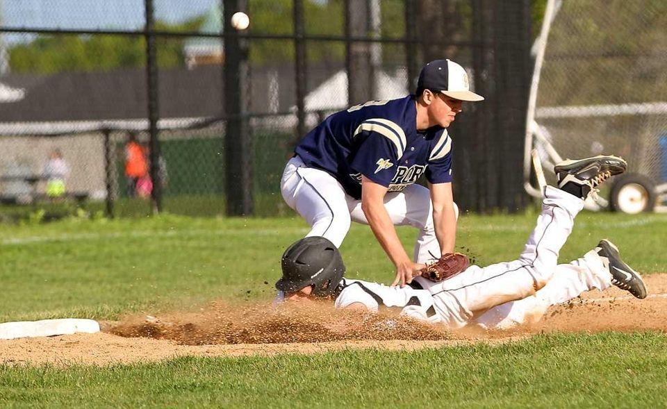 Bayport-Blue Point third baseman Joe Hrbek #7 can't