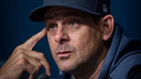 Yankees manager Aaron Boone during a press conference