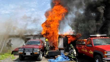Firefighters from a number of fire departments respond
