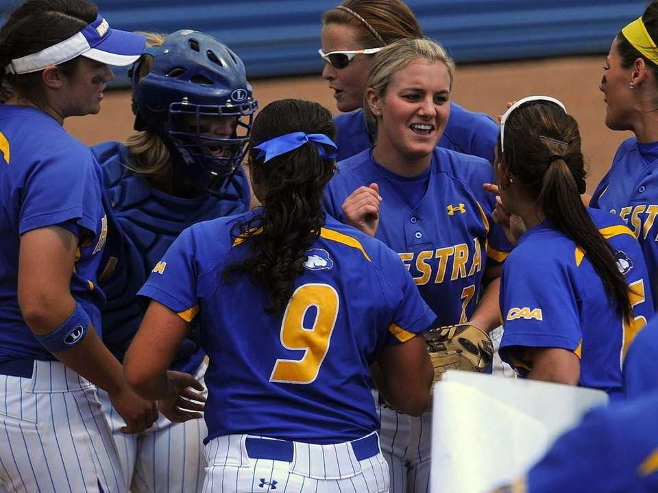 Hofstra University pitcher #2 Olivia Galati, third from