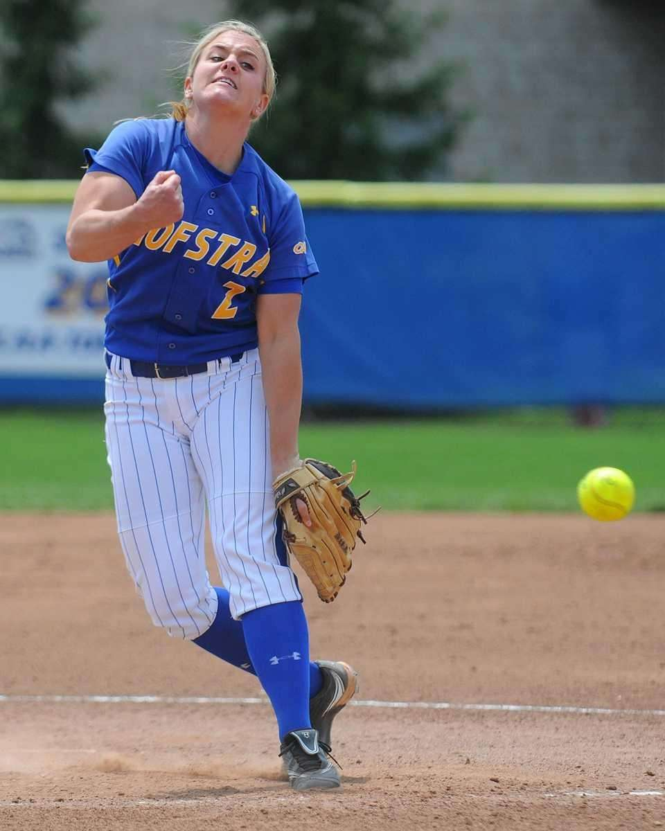 Hofstra University pitcher #2 Olivia Galati delivers to