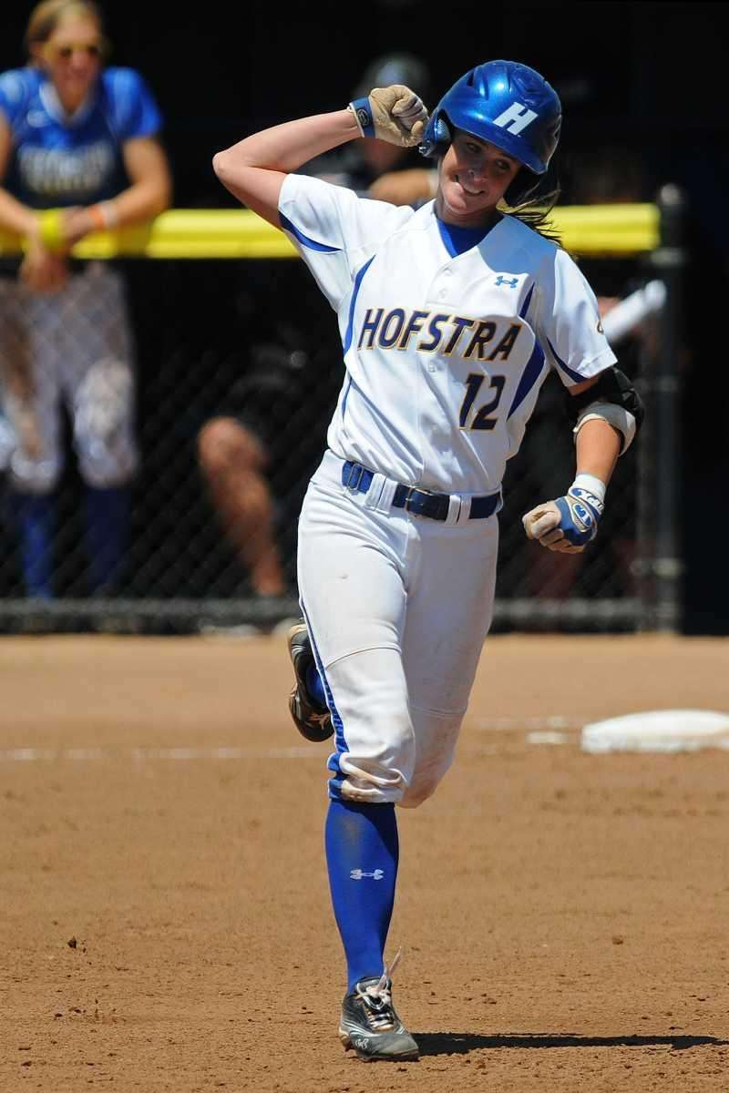 Hofstra University's Krista Thorn reacts after hitting a