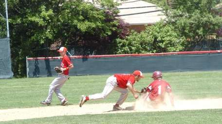 Peter Falgiano of Clarke slides into second base.