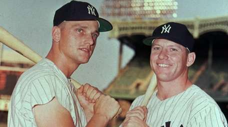 New York Yankees teammates Roger Maris, left, and
