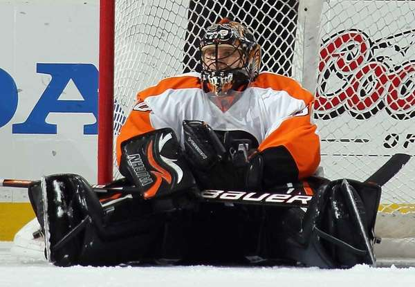 Philadelphia's Ilya Bryzgalov pauses in the crease following
