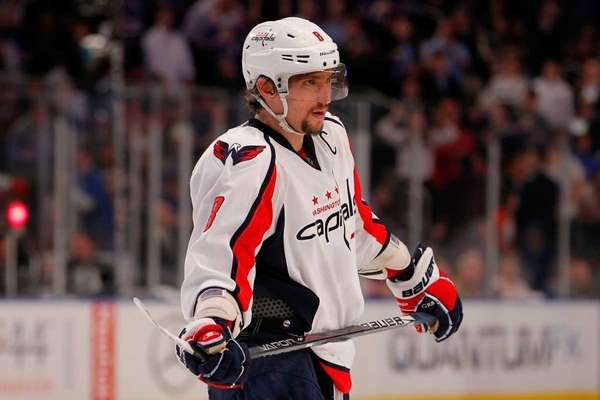 Alex Ovechkin of the Washington Capitals looks on