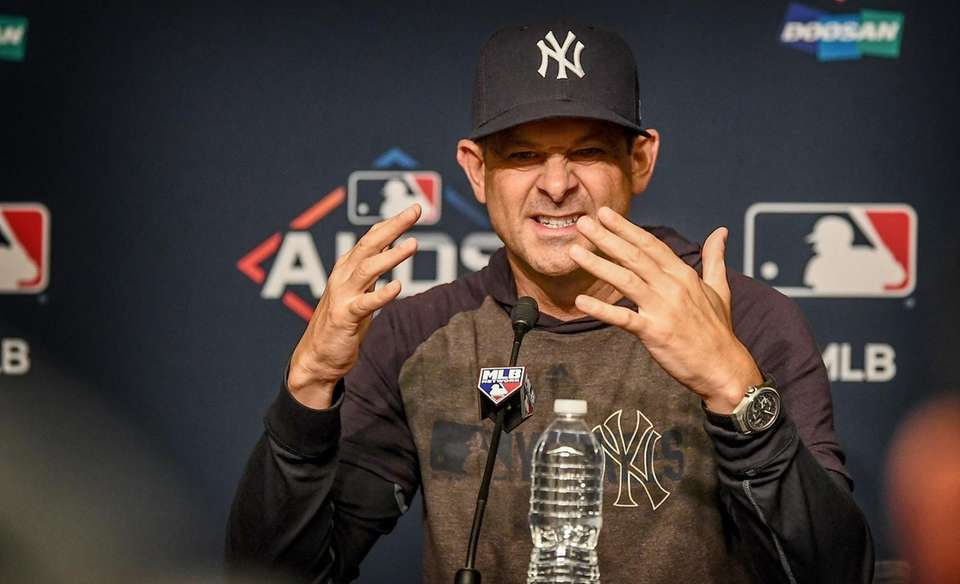 New York Yankees Manager Aaron Boone speaks to