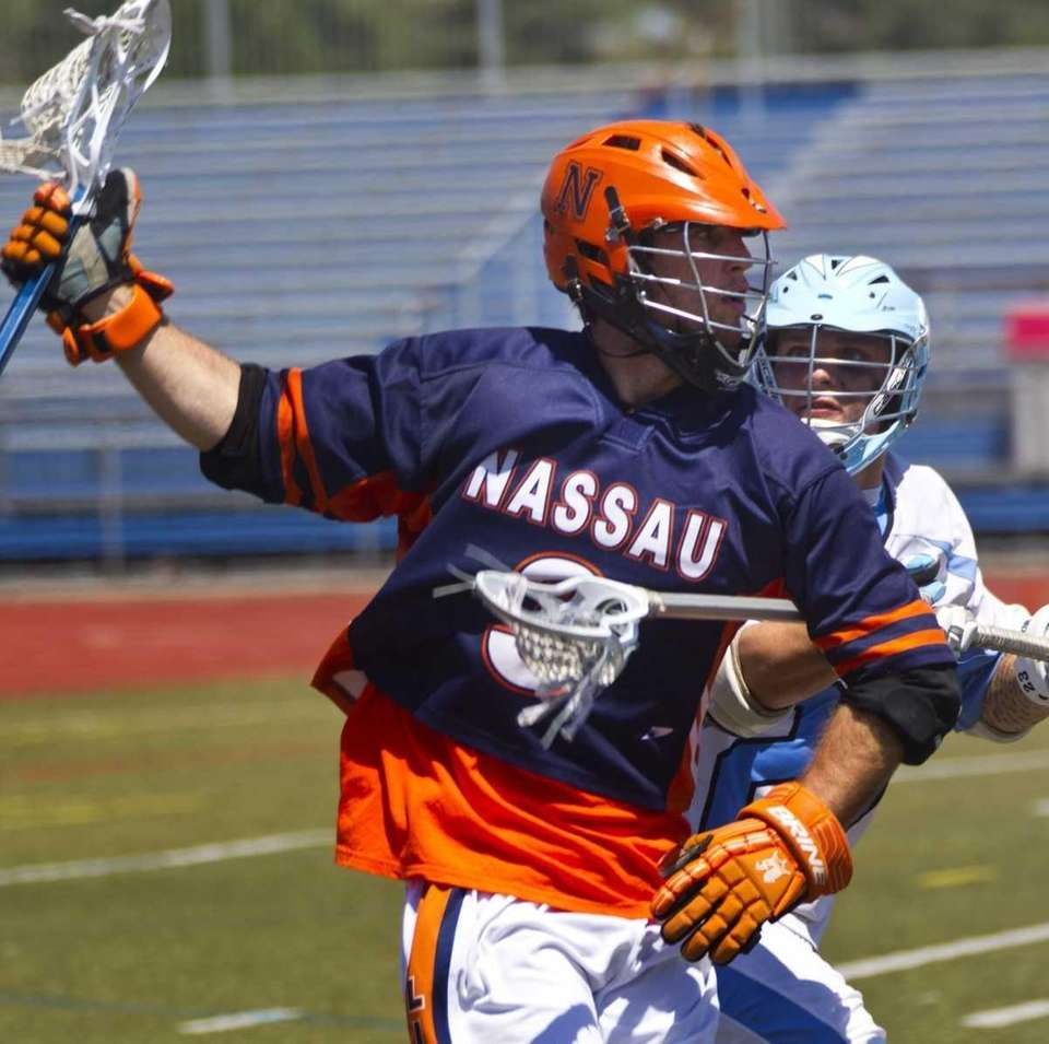 Nassau Community College's 3, Tim Daly, plays lacrosse