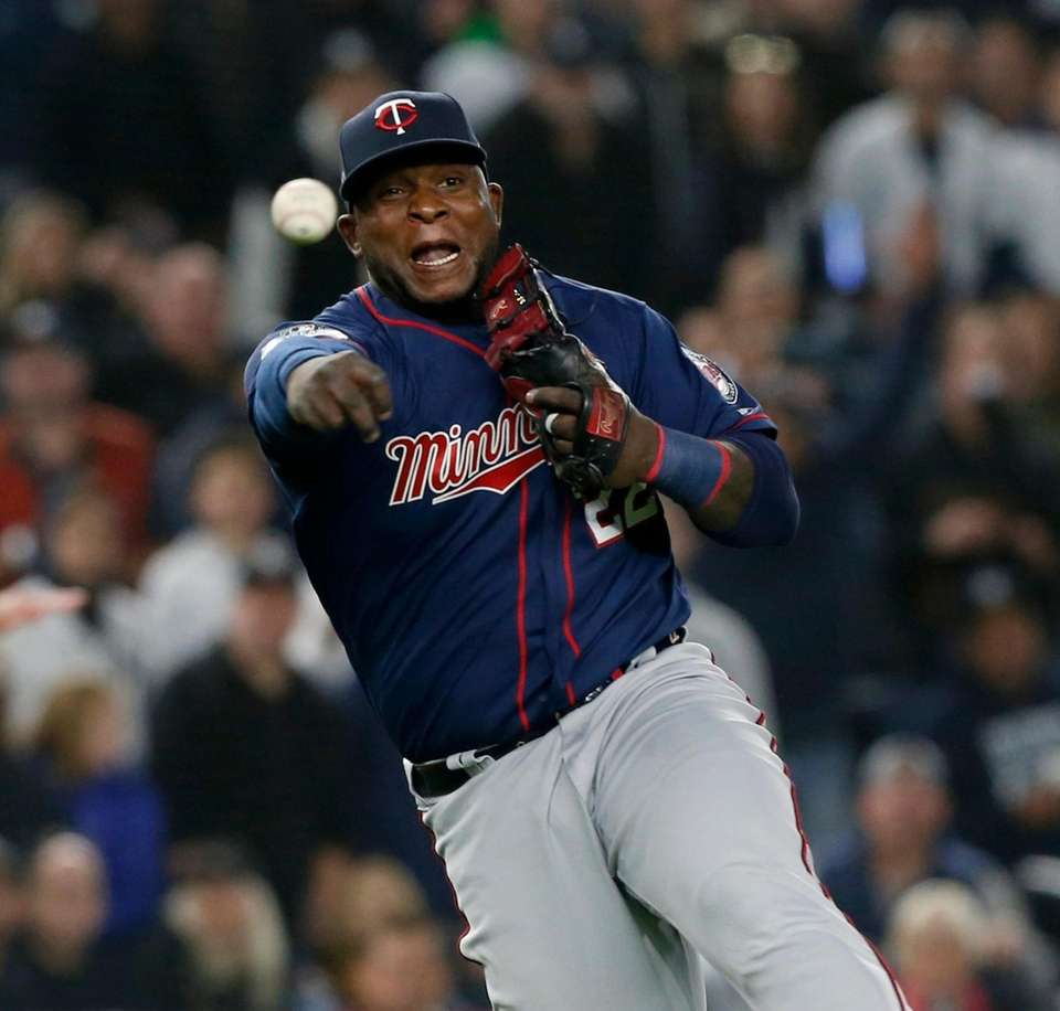 Miguel Sano #22 of the Minnesota Twins throws