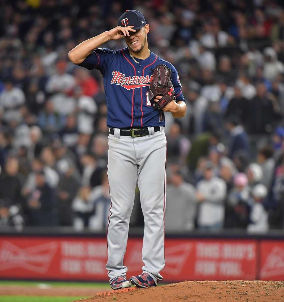 Minnesota Twins starting pitcher Jose Berrios (17) reacts