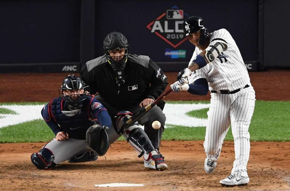 New York Yankees' Gleyber Torres hits in two