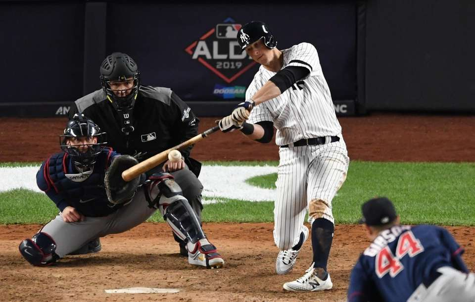 New York Yankees first baseman DJ LeMahieu hits
