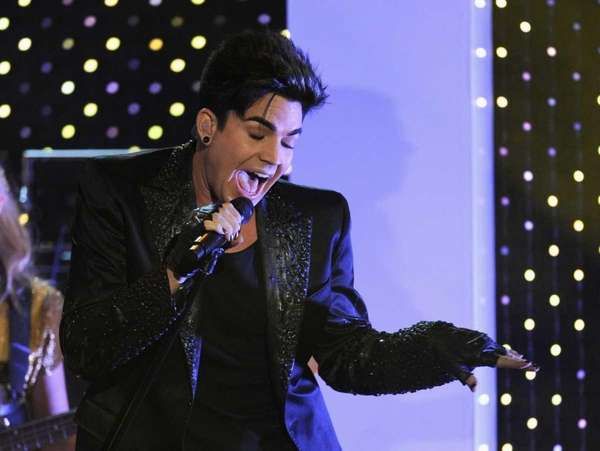 "Singer Adam Lambert performs onstage at Logo's ""NewNowNext"