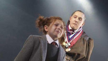"""Bertie Carvel, right, as Miss Trunchbull in """"Matilda"""""""