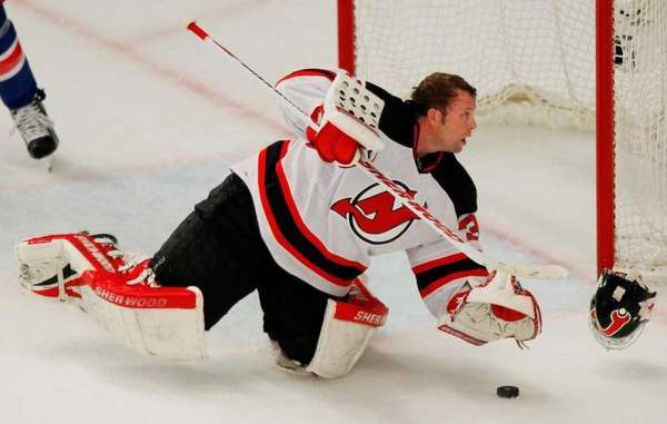 Martin Brodeurof the New Jersey Devils looses his