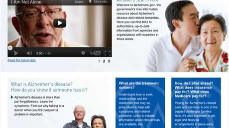 The Health and Human Services new website, alzheimers.gov.