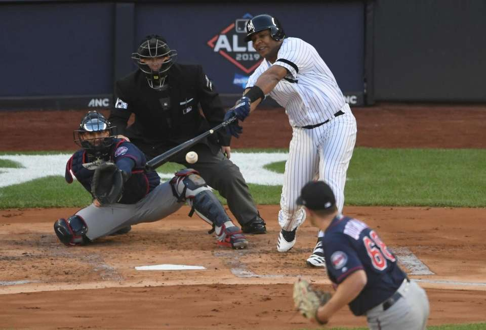 New York Yankees designated hitter Edwin Encarnacion hits