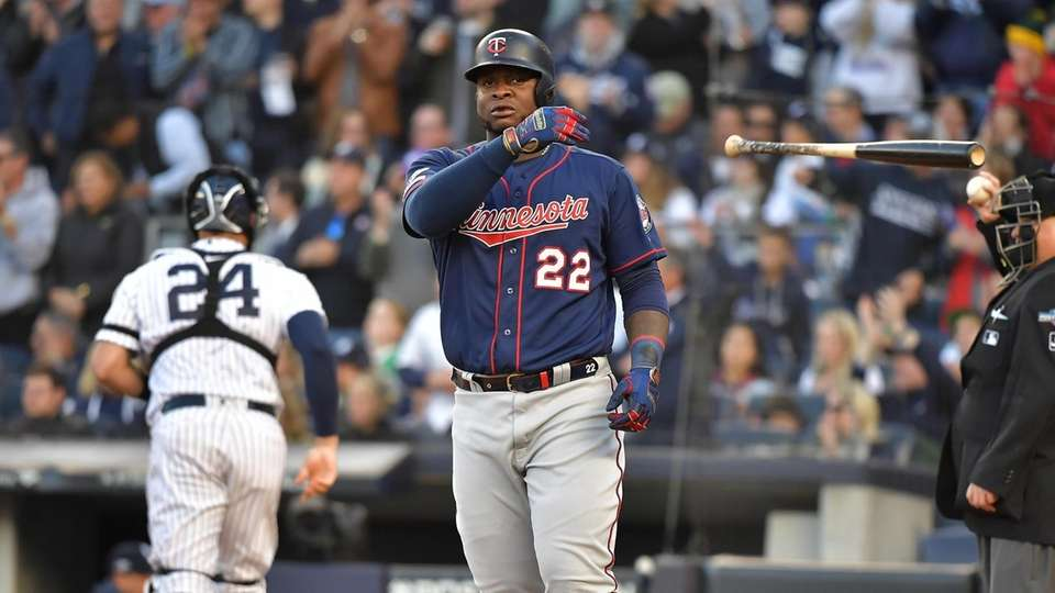 Minnesota Twins third baseman Miguel Sano (22) reacts