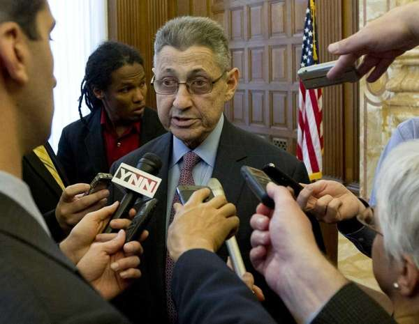 Assembly Speaker Sheldon Silver (D-Manhattan) talks to reporters