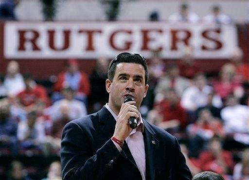 Rutgers' athletic director Tim Pernetti speaks after being