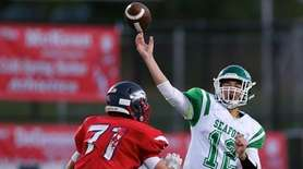 Seaford QB Logan Masters just gets the throw