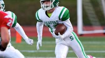 Seaford WR Jason Rebaudo looks for running room