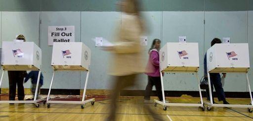 Bellport residents voting at Bellport Middle School in