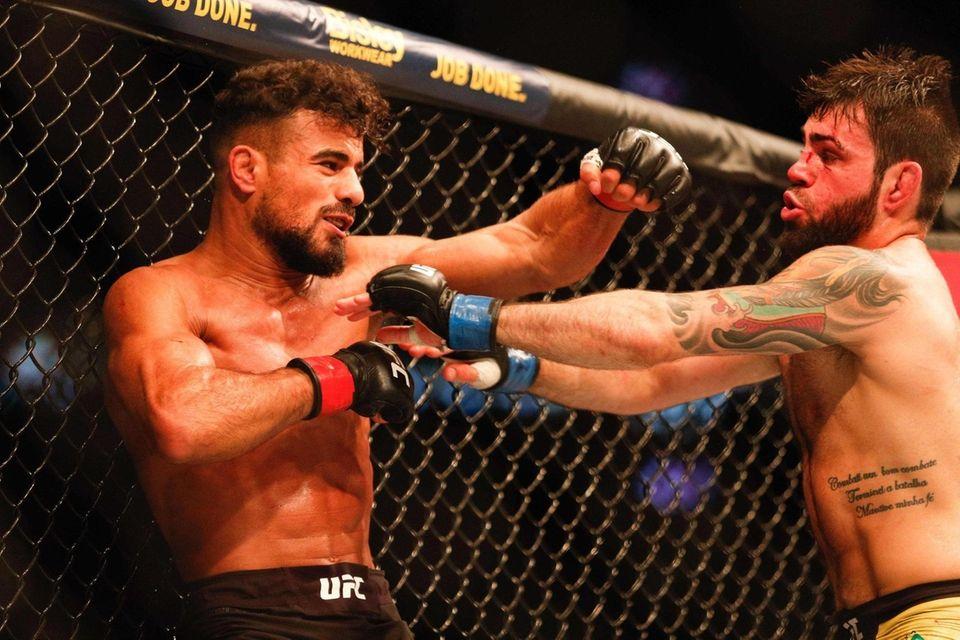 Khalid Taha of Germany (L) punches Bruno Silva