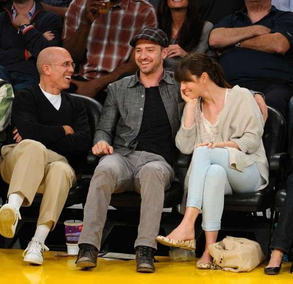 Jeffrey Katzenberg, Justin Timberlake and Jessica Biel attend