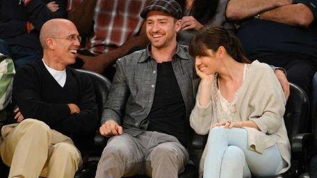 Jeffrey Katzenberg, Justin Timberlake and Jessica Biel attend