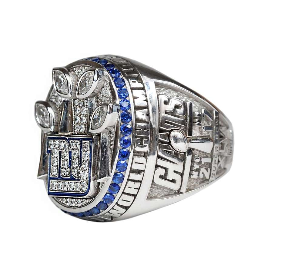 A three-quarter view of the Giants' Super Bowl