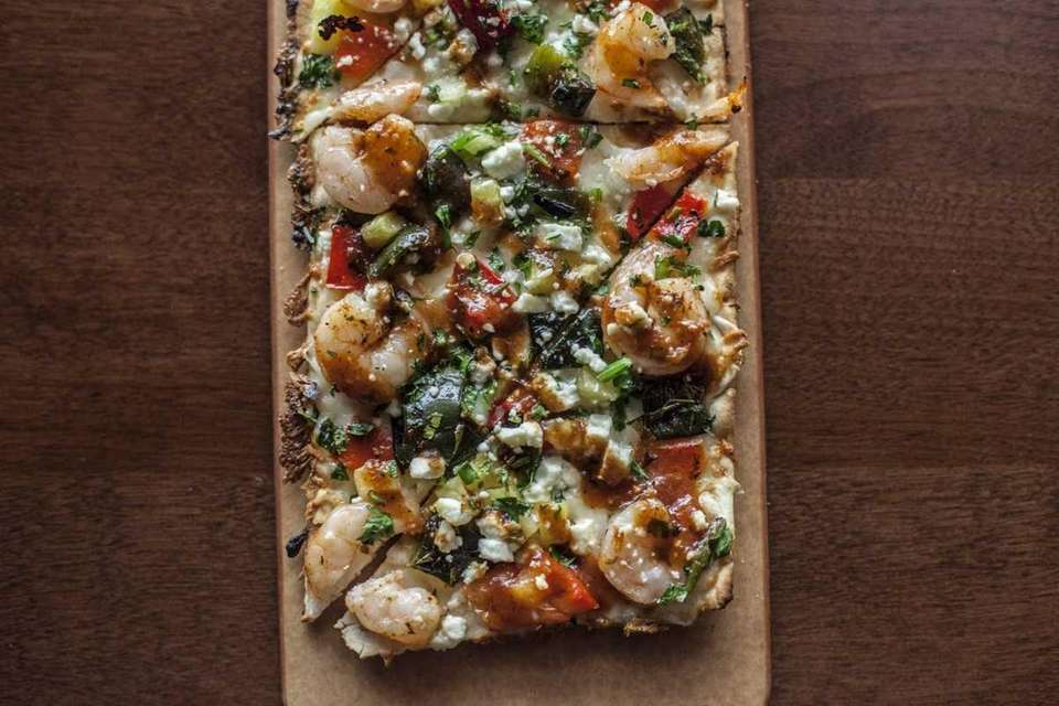 Seasons 52's crispy shrimp flatbread appetizer includes poblano