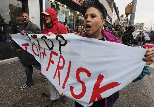 Opponents of the NYPD's controversial 'stop-and-frisk' policy march.