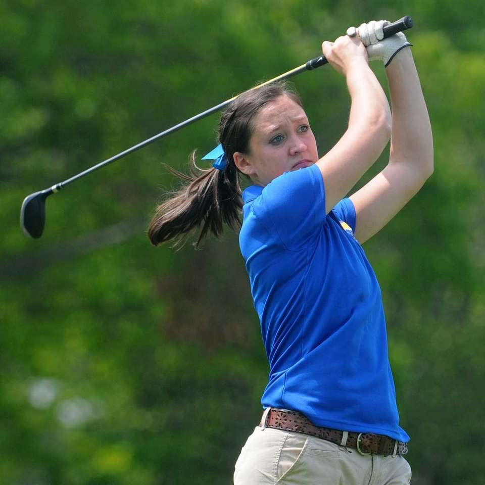 Emily Cole of Kellenberg tees off on the