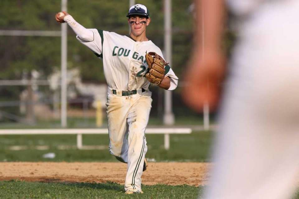 Bellmore JFK's Mike McCormick throws to first for