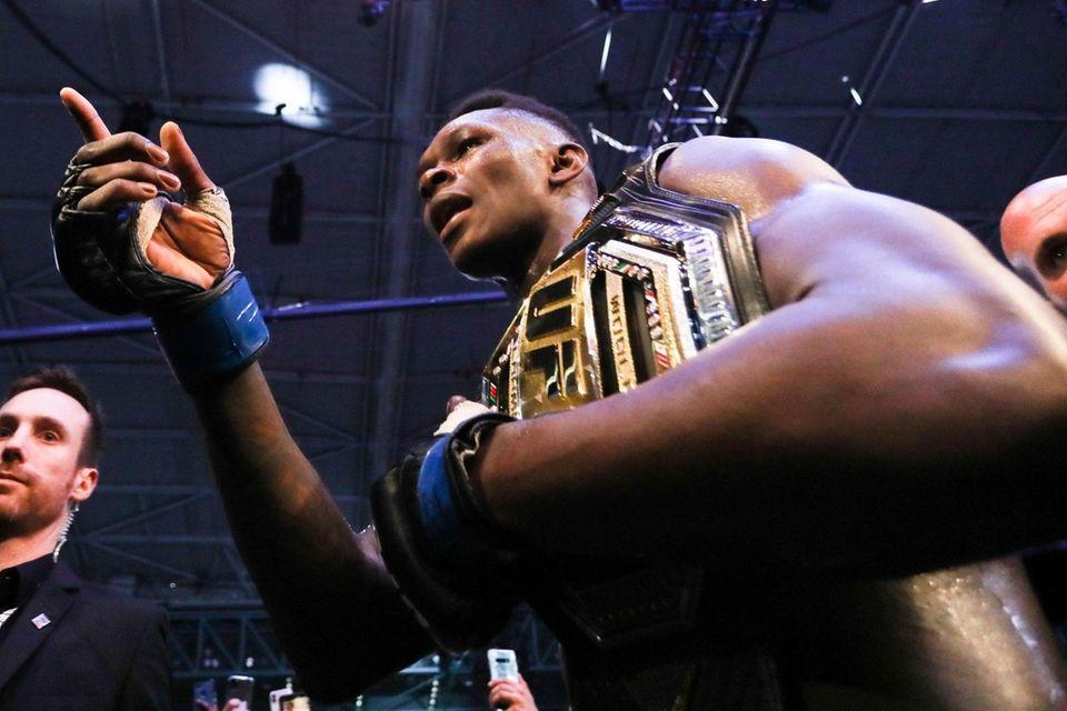 Middleweight title winner Israel Adesanya of New Zealand