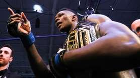 Middleweight title winner Israel Adesanya of New Zealand